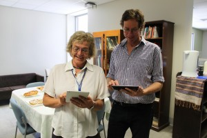 Library Managers Rob Penfold and Pauline Hurrey testing the new up-to-date app on Ipads
