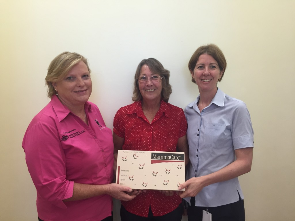 Sharon Shelford McGrath Breast Care Nurse with patient  Julie Sparreboom, and Oncology Nurse Unit Manager Deanne Mitchell.