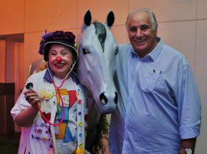 Clown Doctor Dr Wobble with Sam Kekovich.