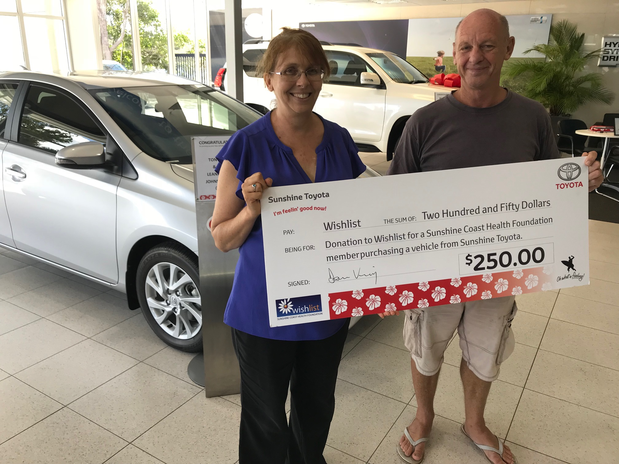 Tony & Leanne (right) who purchased a Corolla from Sunshine Toyota this month.
