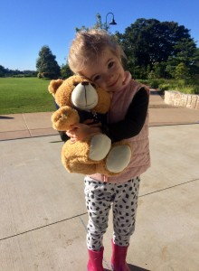 Four-year-old Sophie with her Wishlist Just Better Care teddy bear ahead of 92.7 Mix FM's GM5FK Teddy Bears' Picnic.